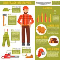 Lumberjack e strumenti di lavoro Infographics vettore