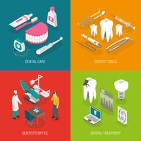 Quadrato piano delle icone di concetto 4 del dentista vettore