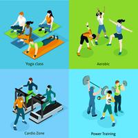 Icone isometriche aerobiche di forma fisica messe