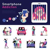 Set di banner piatto di dipendenza da smartphone vettore