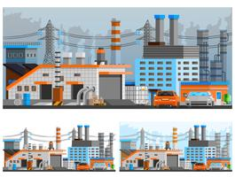 Set di composizioni di edifici industriali vettore