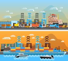 Due insegne orizzontali del porto del trasporto vettore