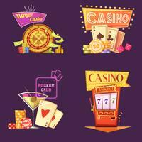 Casino Retro Cartoon 2x2 Icons Set vettore