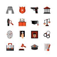 Set di icone piane di diritto legale