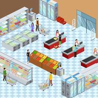 Poster di composizione isometrica interni supermercato moderno