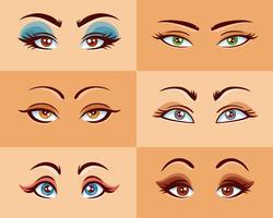 Set di occhi delle donne vettore