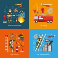 Quadrato piano delle icone di concetto 4 del vigile del fuoco vettore