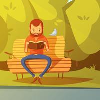 Uomo che legge l'illustrazione della Bibbia vettore