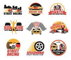 Set di icone emblemi di corse di strada vettore