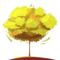 Illustrazione del fumetto isolata albero vettore
