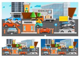 Set di composizioni di parcheggio del centro commerciale