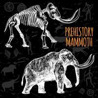 Schizzo Mammoth lavagna disegnata a mano