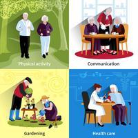 Set di icone di concetto di persone anziane