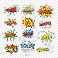 Set di bolle comiche vettore