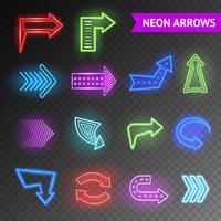 Set di frecce luminose al neon