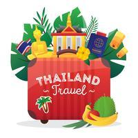 Manifesto piano di composizione di simboli di viaggio della Tailandia