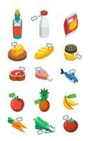 Icone piane isometriche del supermercato