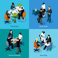 Set di icone isometriche persone d'affari vettore