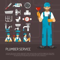 Set di icone decorative di servizio idraulico vettore