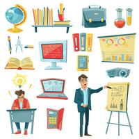 Icone decorative di istruzione scolastica messe