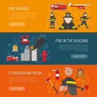 Progettazione di pagine Web di brigata piatte banner vigili del fuoco vettore