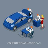 Insegna isometrica diagnostica del computer di servizio automatico vettore
