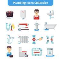 Collezione di icone piane di impianti idraulici