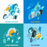Set di icone di concetto di servizi cloud vettore