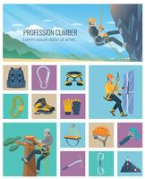 icona di scalatore piatta vettore