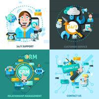 Set di icone di concetto di supporto clienti vettore
