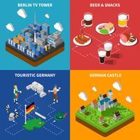 Cultura tedesca 4 isometrica icone quadrate vettore