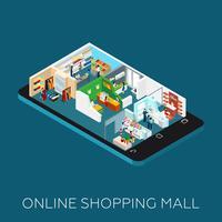 Icona isometrica del centro commerciale online