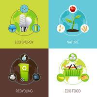 Set di illustrazioni di concetto di ecologia vettore