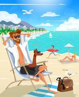 vacanza estiva uomo sulla spiaggia vettore