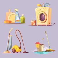 Servizio di pulizia 4 Cartoon Ions Set vettore