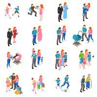 Set di icone isometriche persone familiari vettore