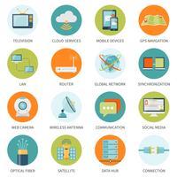Icone di telecomunicazione a cerchi colorati vettore