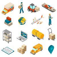 Raccolta isometrica delle icone di simboli del trasporto di logistica