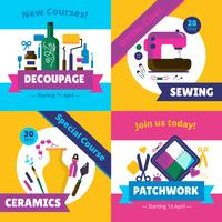 Hobby Workshop Courses 4 Flat Icons vettore