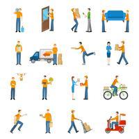 Set di icone di consegna corriere persone vettore