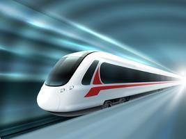 Manifesto realistico della stazione ferroviaria del treno di velocità