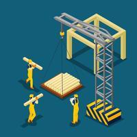 Insegna isometrica che inizia la costruzione di edifici