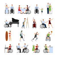 Set di icone piane di persone disabili vettore