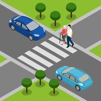 Insegna isometrica pensionata dei portatori di handicap anziani vettore