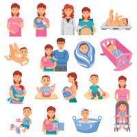 Set di icone di genitori vettore