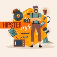 Pacchetto caratteri maschile Hipster vettore