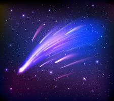 Scena dello spazio con sfondo di comete vettore