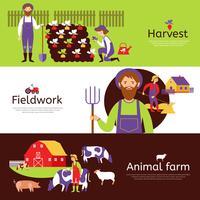 Set di bandiere orizzontali raccolto agricoltori fieldwork