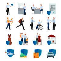 Set di icone di servizi di compagnia di assicurazioni