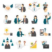. Set di icone di servizio di consulenza di formazione aziendale. vettore